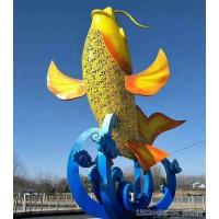海南大型户外不锈钢喷漆鲤鱼雕塑 景观灯雕塑设备工厂
