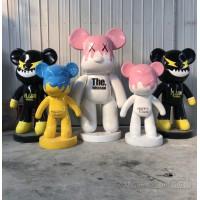 辽宁网红玻璃钢暴力熊雕塑 商场装饰卡通落地摆件