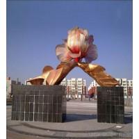 不锈钢电镀玫瑰金花朵雕塑 镂空花朵摆件