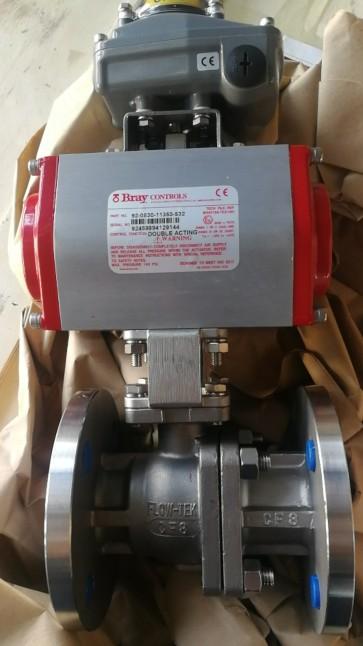 美国博雷F15气动法兰球阀,不锈钢法兰球阀