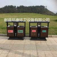 定制 塑木果皮箱 钢木奥运桶 木条垃圾桶